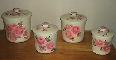 Beautiful Metal Canister Set of 4 Chic Hand Painted Cottage Pink ROSES Shabby