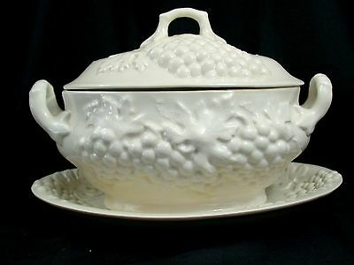 Vintage 2 pc White-Grapes  Marcia Of California Soup Tureen and underplate
