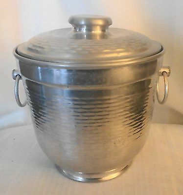 Vintage Hammered Aluminum Covered Bowl Mid Century Modern Made  Italy Ice Bucket