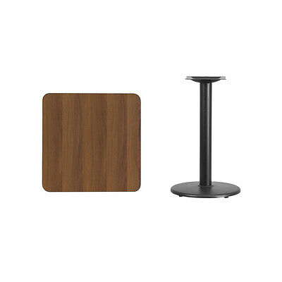 """24"""" Square Walnut Laminate Table Top With Base - Table Height Restaurant Table"""