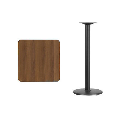 """24"""" Square Walnut Laminate Table Top With Base - Bar Height Restaurant Table"""
