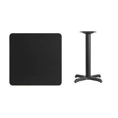 """30"""" Square Black Laminate Table Top With Base - Table Height Restaurant Table"""