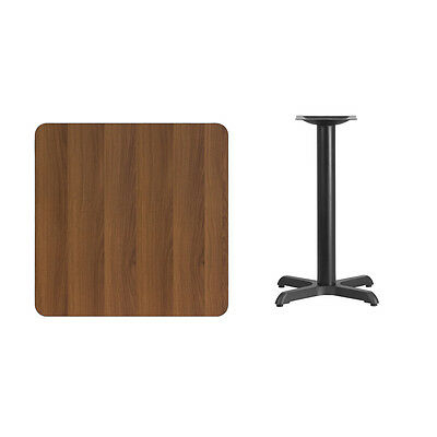 """30"""" Square Walnut Laminate Table Top With Base - Table Height Restaurant Table"""