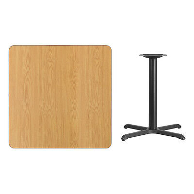 """36"""" Square Natural Laminate Table Top With Base - Table Height Restaurant Table"""