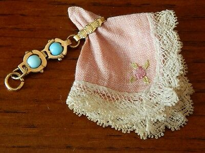 ANTIQUE FRENCH FASHION DOLL HANKY HOLDER~JUMEAU BLUE GLASS BEADED GOLD FILLED