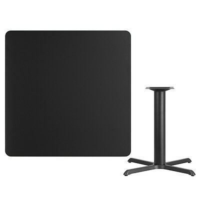 """42"""" Square Black Laminate Table Top With Base - Table Height Restaurant Table"""