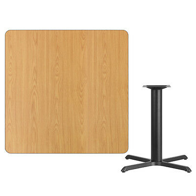 """42"""" Square Natural Laminate Table Top With Base - Table Height Restaurant Table"""