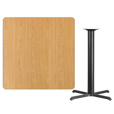 """42"""" Square Natural Laminate Table Top With Base - Bar Height Restaurant Table"""