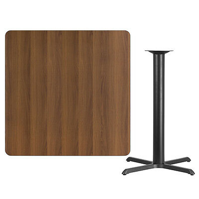 """42"""" Square Walnut Laminate Table Top With Base - Bar Height Restaurant Table"""