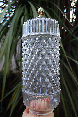 1of2 Vintage pressed Glass Shade swag hanging Lamp part spelter metal finial