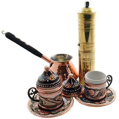 Turkish Greek Arabic Copper Coffee Set w Cups Tray Copper Pot and Grinder Mill