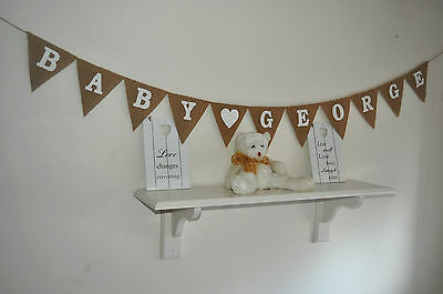 Personalized Custom Baby Shower Burlap Bunting Banner Hessian Name Rustic