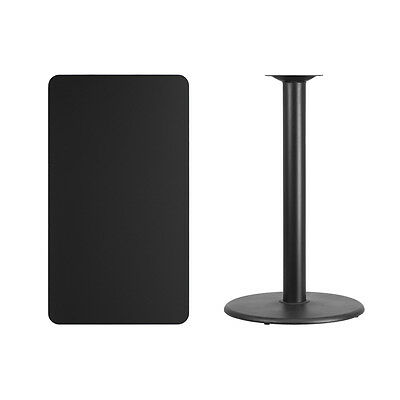 """24"""" x 42"""" Black Table Top With Base - Bar Height Restaurant Table"""