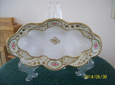 Nippon Oblong Vintage Celery/Relish Floral & Gold Accent Handpainted Dish