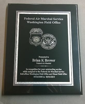 Federal Air Marshal Service Plaque Recognition Award