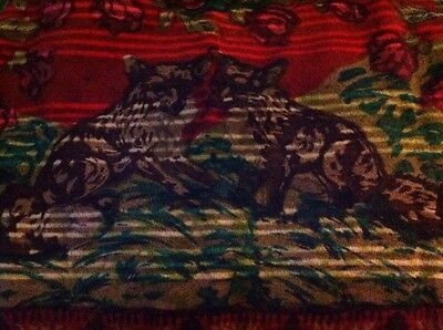 Antique Chase Sleigh Buggy Stadium Wool Blanket With Two Fox Sweet Roses