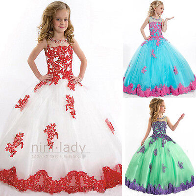 Christening Lace Beads Party Dance Pageant Bridesmaid Princess Flower Girl Dress