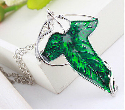 Fashion Film Lord of The Rings Elven Green Leaf Brooch Pendant Chain Necklace