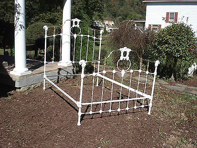 Gorgeous Antique Victorian Brass and Rod Iron Bed