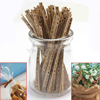100 Pcs Especially For You Printed Bakery Candy Bags Twist Ties Wedding Favor