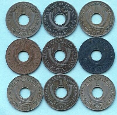 9 Uganda 1 Cent Coins 1909 1910 2 of 1911 2 of 1912 1913 1914 & 1918 ( NO TAX )