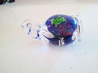 Turtle In  Coral Reef Paperweight / Glass Art /  Vintage