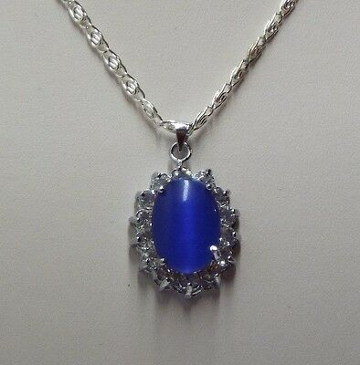 Mexican Opal Pendant Necklace Surrounded with Clear Crystals Silver Plate Chain