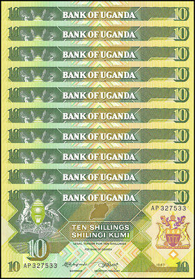 Uganda 10 Shillings X 10 Pieces - PCS, 1987,  P-28, UNC