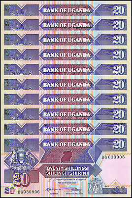 Uganda 20 Shillings X 10 Pieces (PCS), 1988,  P-29b, UNC
