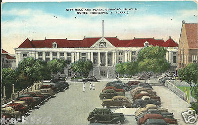 City Hall and Plaza Curacao NWI Dutch West Indies 1949 Postcard