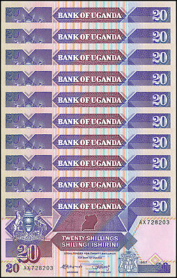 Uganda 20 Shillings X 10 Pieces (PCS), 1987,  P-29a, UNC