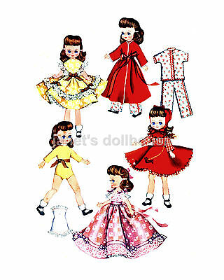 """54 Doll outfits to sew! LOT-8 Vintage Patterns CD 7-8"""",Betsy McCall, Riley, more"""