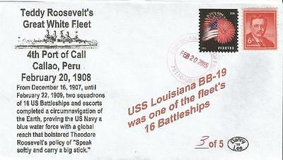 "20 Feb 1908 TR Great White Fleet 4th Port Call ""USS Louisiana"" #3 of 5 Cover"