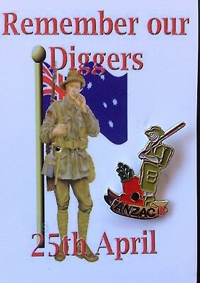 ANZAC Digger Poppy Lapel Pin * ANZAC Day* Remembrance Day