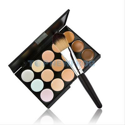 Professional 15 Colors Contour Face Cream Makeup Concealer Palette Powder Brush