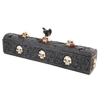 Crow Raven on Rose Skulls Demon Coffin Incense Burner Box Figurine Collectible