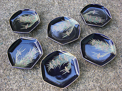 Vtg Japanese Studio Art Pottery Plates Purple Orchid Handpainted Made In Japan