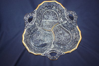 "Vintage Cambridge Etched Wildflower Triple Divided Candy Dish Gold Trim 8"" X 1"