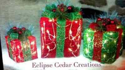 """3 Piece Deluxe Christmas Lighted Gift Boxes 8"""" 10"""" 12"""""""