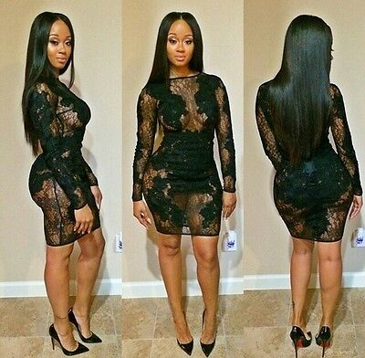Sexy Women Black Bandage Bodycon Lace Evening Party Cocktail Mini Dress Clubwear