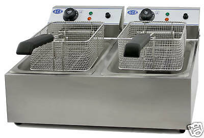 N. IRELAND & HIGHLANDS Premier Quality 20L S/S Twin Electric Deep Fat Fryer Chip