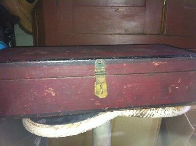 Early Painted Red/black Minature Tool Box W/in. A.H.K