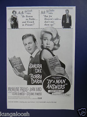 1962 MOVIE AD, IF A MAN ANSWERS,SANDRA DEE, BOBBY DARIN