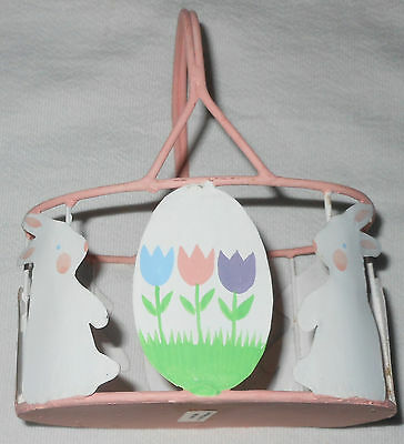 Hand-Painted Easter Bunny Rabbit & Eggs Pink Metal Basket Spring Decoration