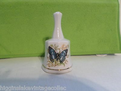 """Ceramic Porcelain Hand Bell Butterfly Pattern 4 1/2"""" Tall"""