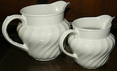 Lot 2 pcs Burgess & Leigh Burleigh Ware White Ironstone Pitchers - England