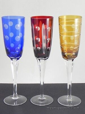 VINTAGE BOHEMIAN CUT TO CLEAR DOT CRYSTAL FLUTE GOBLET RED BLUE YELLOW SET OF 3