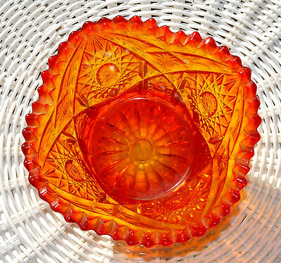 """VINTAGE CARNIVAL GLASS BOWL - DIAMONDS - RED MARIGOLD - 3"""" TALL - EXCELLENT COND"""