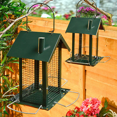 2 Bird Feeder Feeding Station Hanging House Design Garden Nuts Seeds