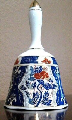 IMARI BELL ~ Porcelain Asian Style White Blue Red Gold Trim ~ Clapper Perfect